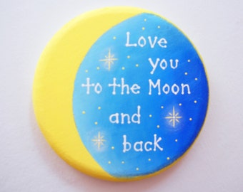 Love you to the Moon and back wall plaque saying with twinkling stars for children's bedroom or babies nursery decor