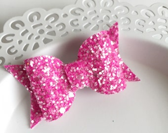 Frosted Pink Glitter Bow, Bow Headband, Summer Bow, Yellow Headband