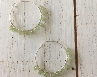 Green crystal hoop earrings