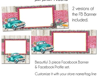 Vintage Truck Facebook Set - Just Junkin' Around - Customize for your Facebook Business or Personal Page, DIY, Facebook Template
