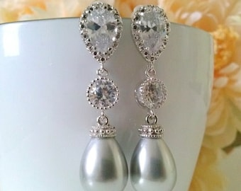 Bridal Earrings,bridal Tear Drop dangle pearl grey  earrings,with rhinestone disco ball earrings,,grey earrings,grey pearl arrings