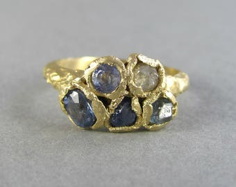 Sapphire statement ring, raw rough sapphire and diamond statement ring, solid 14k yellow gold, ancient matte gold ring, blue uncut gem ring