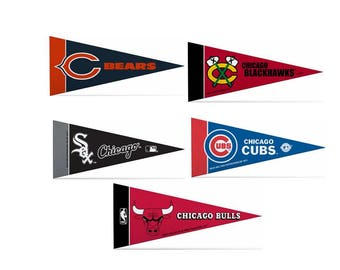 """Officially Licensed Mini Pennants Fan Pack Set Includes Bears, Blackhawks, White Sox, Cubs, & Bulls 4"""" x 9"""""""