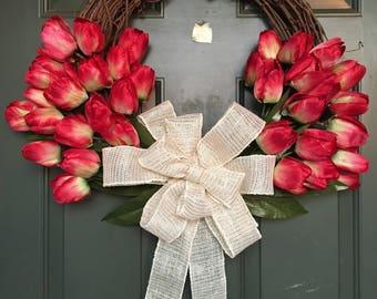 Red Tulip Door Wreath