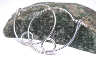 Silver Hoops With a Loop, Unique Hoop Earrings