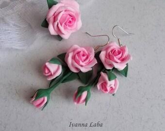 roses earrings, roses ring,flower ring, pink earrings, clay flower, gift for sister, gift for her, bride earrings, red flower earrings,pink
