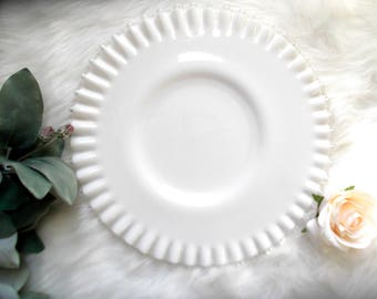 "Fenton Milk Glass Cake Stand, Low Wedding Cake Stand, 12"" Cupcake Plate, Grooms Cake Plate"