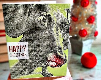 Pack of 5 Modern Dachshund Happy Christmas Cards