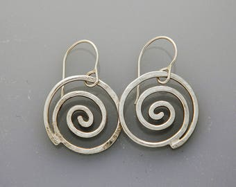 Spiral jewelry, silver jewelry- silver earrings, large spiral earrings, swirls