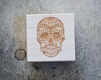 Sugar Skull Rubber Stamp - Dia de los Muertos Stamp