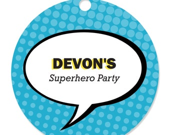 BAM! Superhero Party Tags 20 ct. - Personalized Baby Shower and Birthday Party Supplies