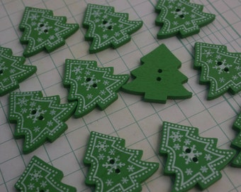 """Wood Christmas Tree Buttons - Wooden Xmas Tree Button - 1 1/4"""" Tall - 12 Buttons"""