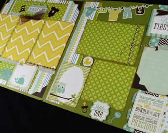 "12X12 Baby Boy Scrapbook Page Kit, 12X12 Premade Scrapbook Page, Bundle of Joy Scrapbook Page, Scrapbook Premade Page, 12"" Scrapbook Layout"