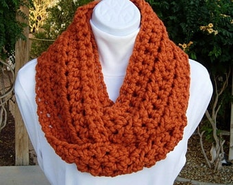 Infinity Scarf Cowl Loop, Pumpkin Solid Orange, Bulky Soft Wool Blend, Crochet Knit Winter Circle Thick Neck Warmer..Ready to Ship in 2 Days