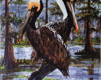 Pelican pair in swamp Louisiana Art print, Father's Day gift, Acadiana art, Louisiana decor, Swamp painting, New Orleans art, Cypress trees