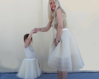 AUNT and ME Tulle Skirt/Aunt and Niece Ivory to Gold Matching Skirts/ High Low fully customizable/Two Skirts/Formal Skirt/dégradé de couleur