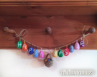 Happy Easter Egg Garland-Needle Felted Eggs and Jute Basket-Easter Decoration