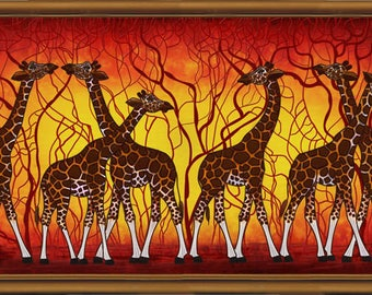 "DIY Bead Embroidery Kit, Bead Embroidery Patterns ""Giraffes at sunset"", Beaded Painting, Beaded Embroidery Kit, Embroidery"