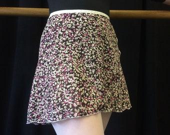 Youth Chiffon Ballet Wrap Skirt - Purple Floral Print