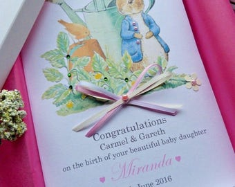 Personalised Handmade New Baby Boy Or Girl Card  Boxed Peter Rabbit