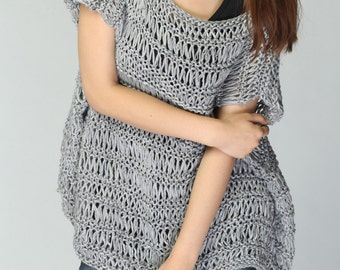 Hand Knit sweater cotton Tunic in Grey - ready to ship
