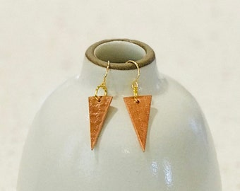 Textured Copper Triangle Earrings