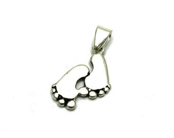 PE001174 Sterling silver pendant charm solid 925 Footsteps