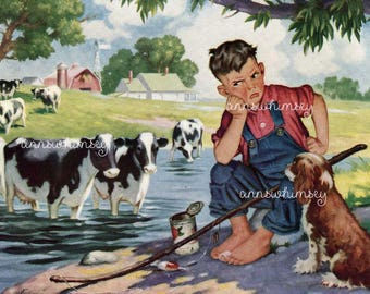 "Boy's Room Art, Dog and Boy Art, Farm Boy Art Print ""Uninvited Guests"" Little Boy and Dog Try to Fish Restored Antique Art #516"