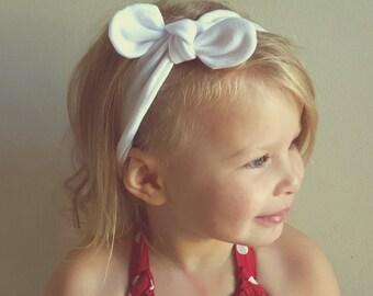 Tie Knot Headband/ White Headband/ Jersey Headband/ Baby Headband/ Adjustable Headband/ Adult Headband// White Tie Knot Headband/ Turban