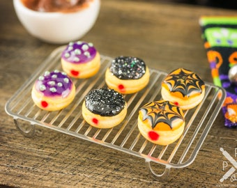 Made to Order Halloween Jelly Doughnuts - Half Dozen - 1:12 Dollhouse Miniature