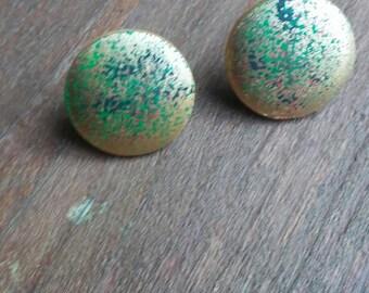 Gold splatter Button Earrings, Button Earrings, Stud Earrings, Afrocentric Print Earrings, gold button Earrings,
