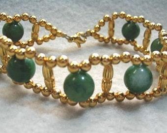 Green Bracelet, African Jade Green Stone, Gold Bead Bracelet, Green Jewelry, Handmade Bead Jewelry