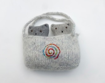 Two little kittens in a felted wool pouch set Waldorf inspired ready to ship