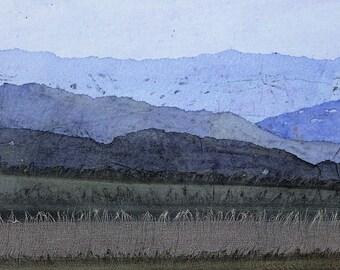 First Light: print from original collage, hand coloured papers and silks, landscape, horizons, hills, fields, textile art, fiber art