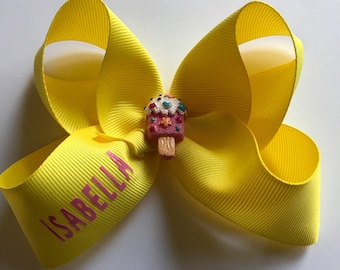 Summer hair bow , personalized Hair Bow , ice cream hair bow, yellow hair bow, girls hair bow