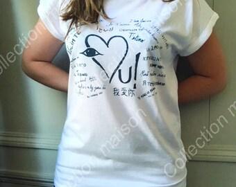 """Women's short Sleeve T-Shirt white """"I love you"""" navy blue"""