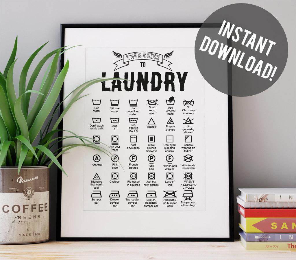 Laundry Symbols Wall Art Laundry Symbols Art Print Funny Print Art Art Print Wall