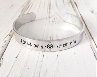 Coordinate Bracelet/Mothers day Gift/GPS  Coordinates Bracelet/ Personalized Engraved Bracelet Engraved Cuff
