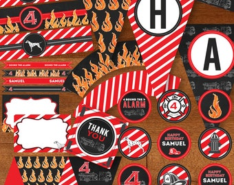 Fire Truck Birthday Party Printable Package DIY  - Flames Fire Chalkboard Fire Engine Black, Red, Orange