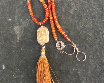 Champagne Drusy and Silk Tassel Pendant on Carnelian Beaded Necklace    Tassel Necklace  Boho Jewelry  Wire Wrapped Pendant