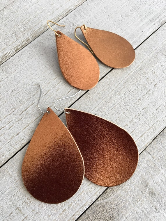 Bronze Metallic Leather Teardrop Earrings - Lightweight Leather Jewelry - Choose Your Size on Stainless Steel or Gold-Plated Wires