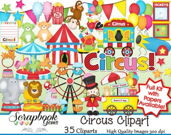 CIRCUS Clipart, 35 png Clipart files Instant Download clown elephant seal games birthday party balloon amusement theme park carnival cannon