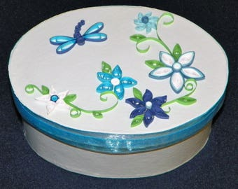 """Quilled Keepsake Box 6 1/2"""" Long by 4 3/4"""" Wide with , Flowers, Dragonfly, Gift Box, Hairbows, Jewelry, Photos, Decoration"""