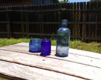 vintage blue glass medicine bottles  lot 0f 3
