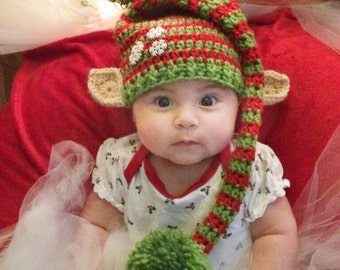 Crochet Christmas Elf Hat With Ears- Green and Red- Newborn to Adult