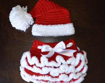 Santa Hat & matching Tutu Handmade Crochet Baby Beanie Hat Photo Prop Custom Made