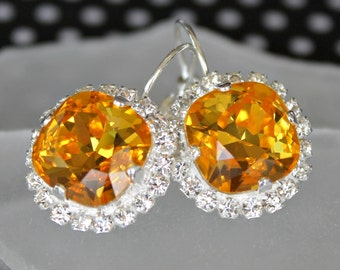 Sunny Yellow Swarovski Crystal Dangle Earrings in Silver