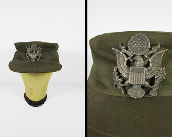 Vintage 1950s US Army Cap 13 Star Pin Flat Military Hat OD Green