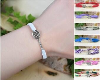 Tennis Racquet Bracelet -  Adjustable Hemp Jewelry - Sports Team Gifts for Men, Women, Girls, Boys, Guys, Tennis Coach Player Athlete
