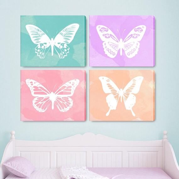 Butterfly Art, Butterfly Wall Art, Butterfly Art Print, Butterfly Print, Set of 4 Prints, Set of 4 Wall Art, Set of 4, Canvas - KA2000F